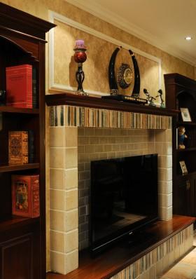 美式新古典风格客厅电视背景墙装修效果图