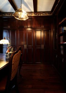 美式新古典风格书房壁柜效果图