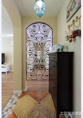 美式混搭风格两室两厅玄关装修效果图