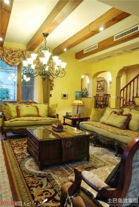 欧式田园风格复式楼客厅吊顶效果图