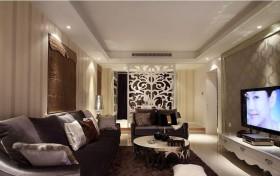 简欧式风格二居室客厅雕花屏风图片