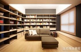 日式风格客厅书架效果图