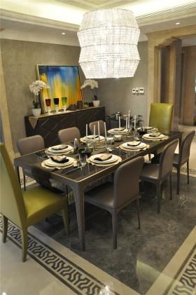 欧式新古典风格餐厅拼花地板装修效果图