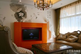 混搭别墅彩绘电视背景墙效果图