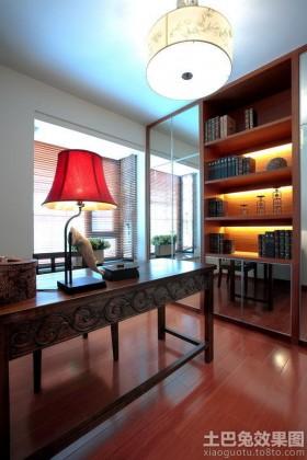 中式风格三居书房书架效果图
