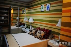 现代卧室条纹壁纸效果图
