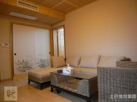 日式风格小客厅藤艺沙发图片