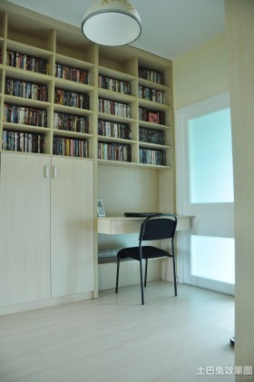 现代简约书房书柜设计图