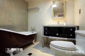 新古典风格浴室玻璃砖背景墙效果图