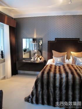 现代卧室梳妆台兼床头柜图片