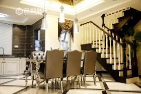 新古典装修风格别墅餐厅楼梯效果图