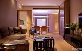 现代中式客厅两室两厅装修效果图片
