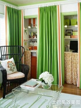 混搭风格书柜窗帘效果图