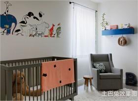 创意风婴儿床两室两厅装修效果图