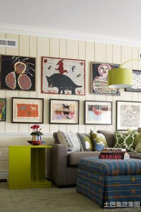 混搭风格沙发背景墙画效果图