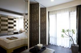 卧室折叠屏风隔断效果图