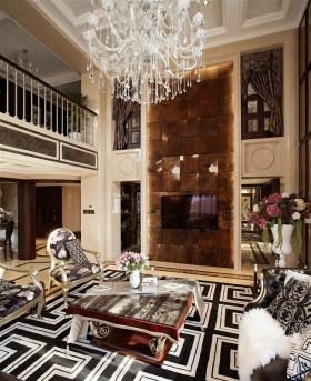 新古典风格别墅装修客厅电视背景墙效果图