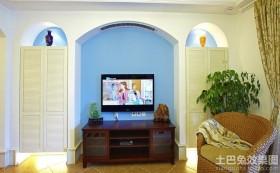 混搭地中海风格电视柜背景墙装修效果图