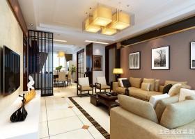 中式两室两厅客厅整体装修设计
