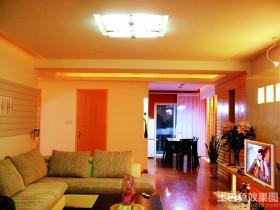 混搭风格二居室客厅方形灯具装修