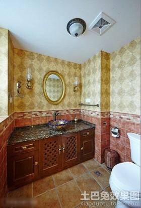 美式卫生间墙面壁纸装修设计