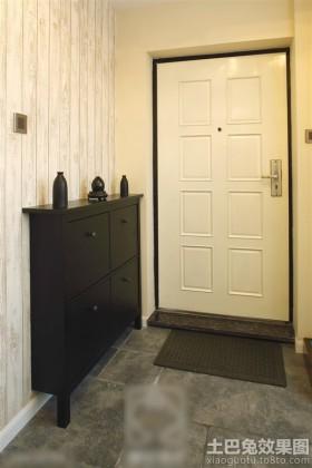 欧式风格鞋柜黑白色欧式进门玄关装修效果图