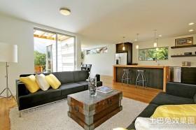 混搭风格两室两厅客厅木质茶几装修