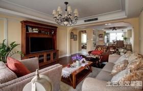 美式田园风格两室两厅客厅装修设计