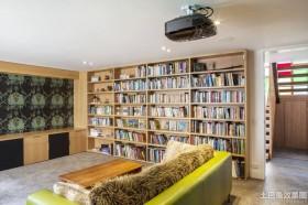 简约风格别墅客厅书柜装修设计