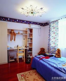 地中海式儿童房书桌书柜组合效果图