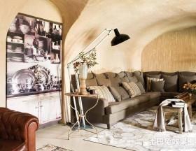 复古风格二居室工业住宅客厅装修效果图