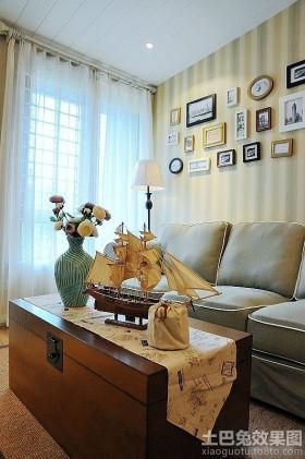 东南亚风格客厅自制原木茶几装修效果图