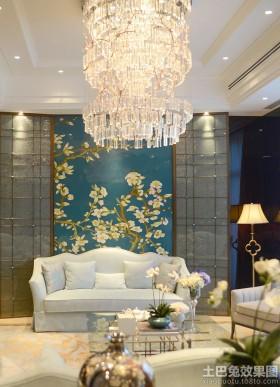 中式风格沙发背景墙新中式别墅装修效果图欣赏