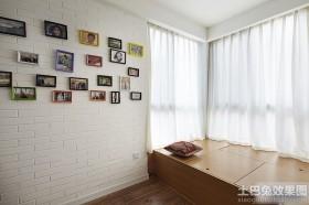 家居飘窗纯色窗帘效果图