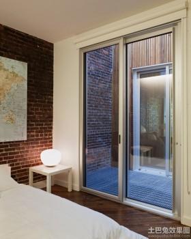 卧室有框玻璃门图片