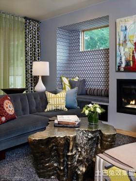 混搭风格别墅客厅木雕茶几图片欣赏