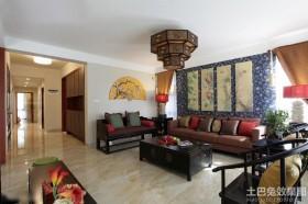 中式田园风格三室两厅客厅装修效果图