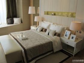 现代中式120平米两室两厅卧室装修效果图