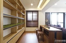 原木色开放书房装修效果图