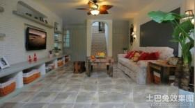 田园风格两室两厅客厅装修效果图大全