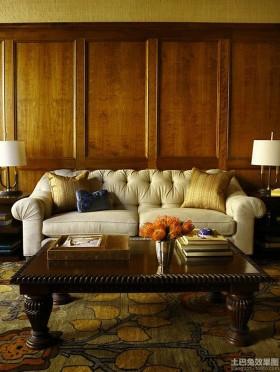 客厅原木护墙板图片