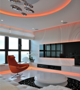 混搭风格三居室客厅色彩效果图