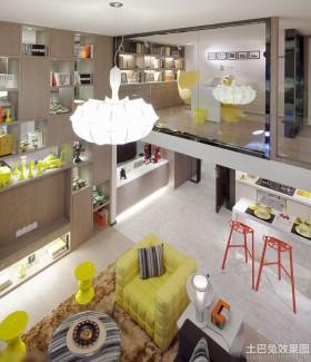 混搭风格复式楼客厅色彩搭配装修效果图
