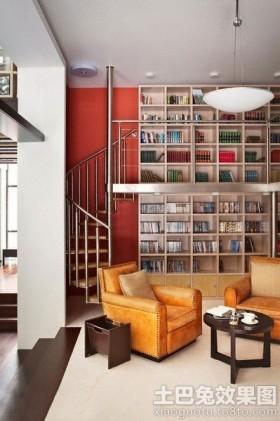 混搭风格别墅装修客厅墙面书架图片欣赏