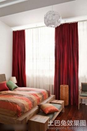 卧室红色窗帘效果图