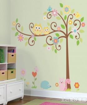 温馨儿童房手绘墙图片