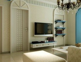 地中海风格90平米二居室客厅电视墙装修图