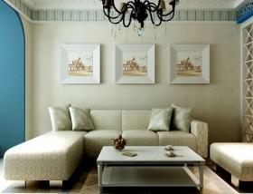 地中海风格家居客厅布艺沙发图片