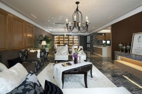 混搭风格120平米三居客厅装修效果图