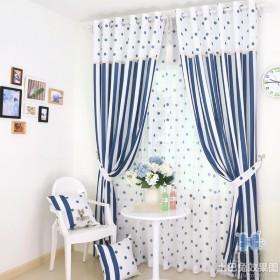 地中海风格清新卧室窗帘效果图